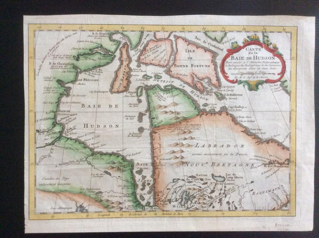 Bellin: Antique Map of Hudson Bay, 1770