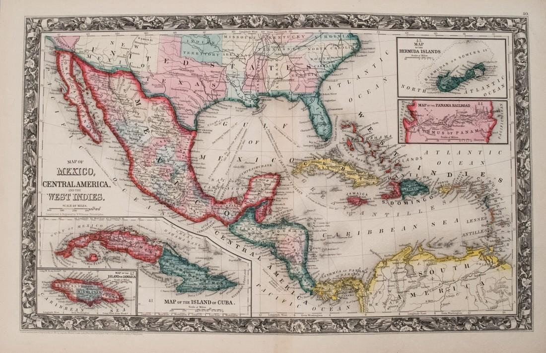 Mitchell: Antique Map of the Caribbean & Mexico, 1860