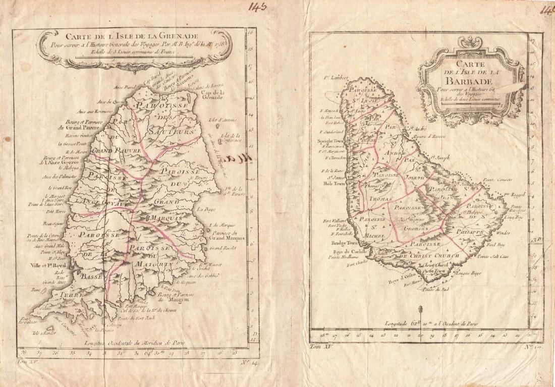 Bellin: Antique Map of Grenada & Barbados, 1758
