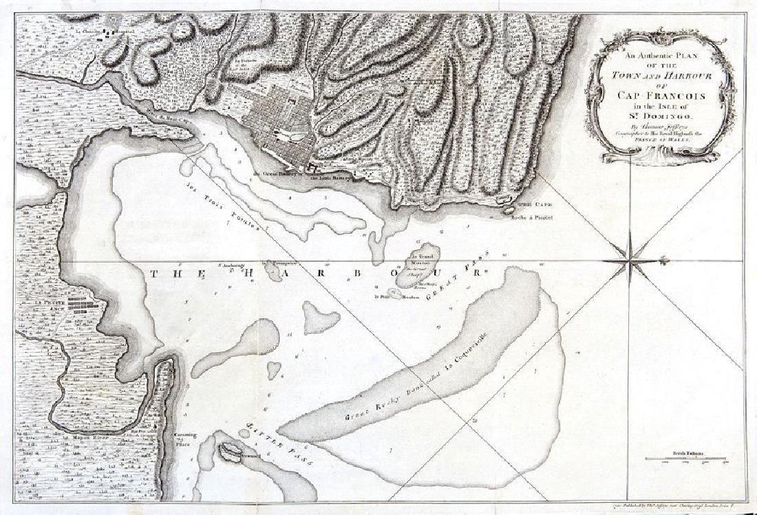 Jefferys: Antique Map of Cap Francois, Haiti, 1760