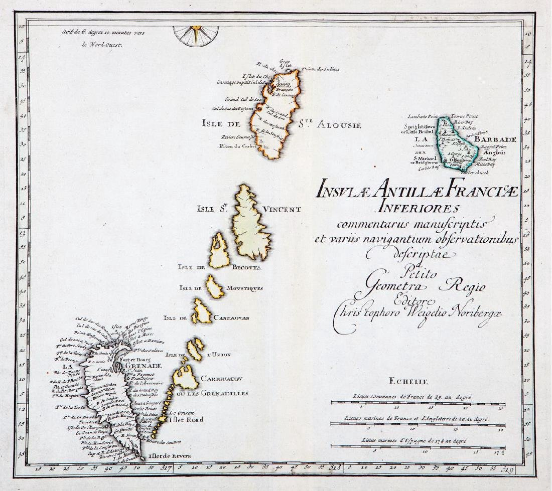 Weigel: Antique Map of Lesser Antilles, 1718