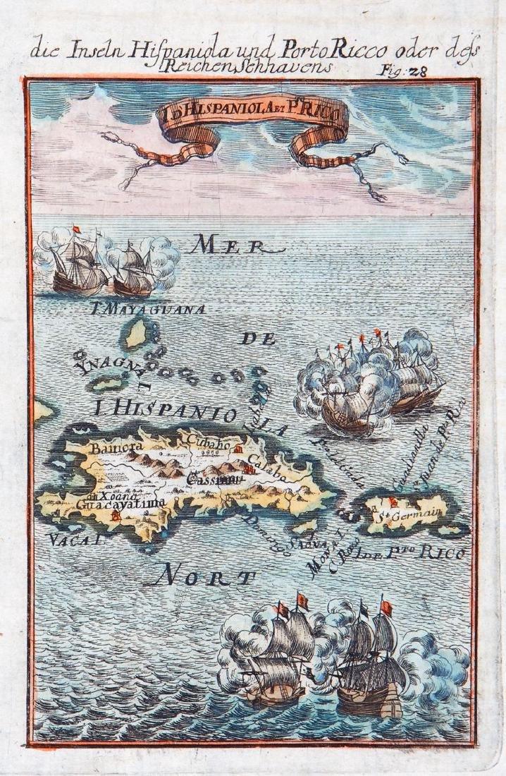 Mallet: Antique Map of Hispaniola / Puerto Rico, 1719