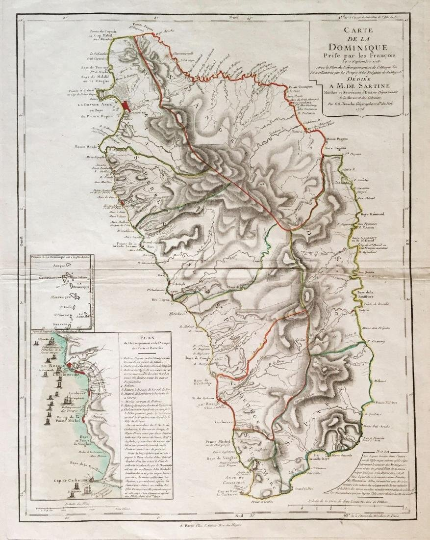 Buache: Antique Map of Dominica, 1778