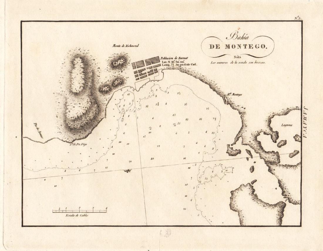 Antique Spanish Map of Montego Bay, Jamaica, 1809