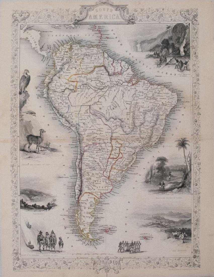 Tallis: Antique Map of South America, 1851