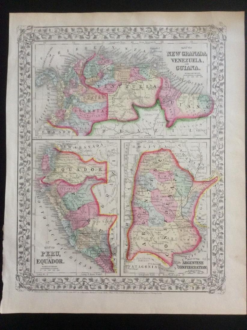 Mitchell: Antique Map of South American Countries, 1869