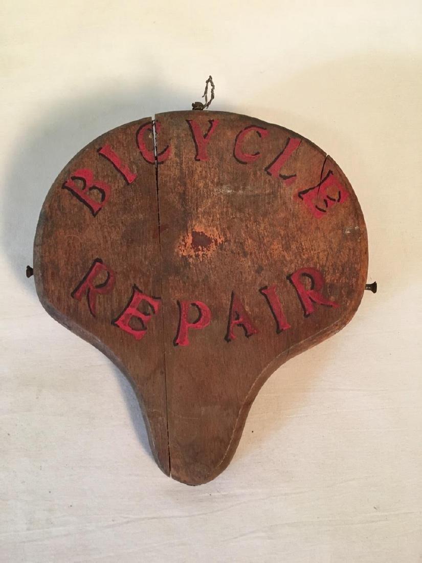 Bike Repair Wood Sign 1950's