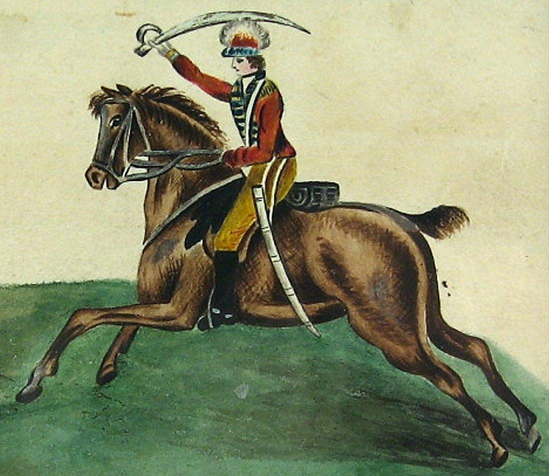 Antique Calvary Officer on Horseback 1830 - 2