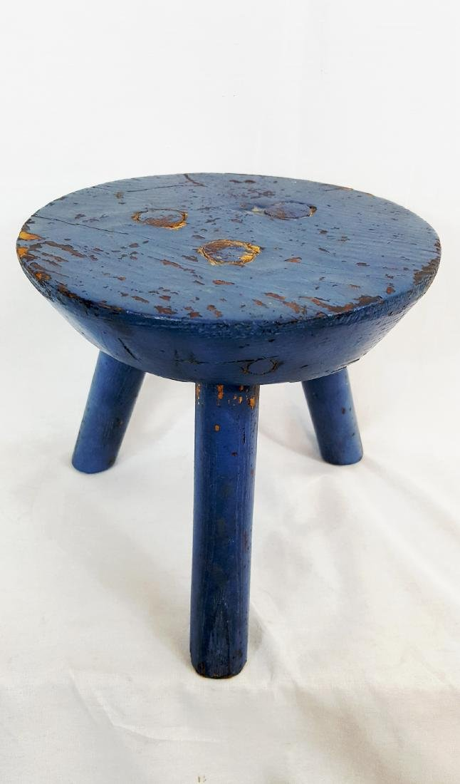 Blue Painted Pa Milking Stool Circa 1900