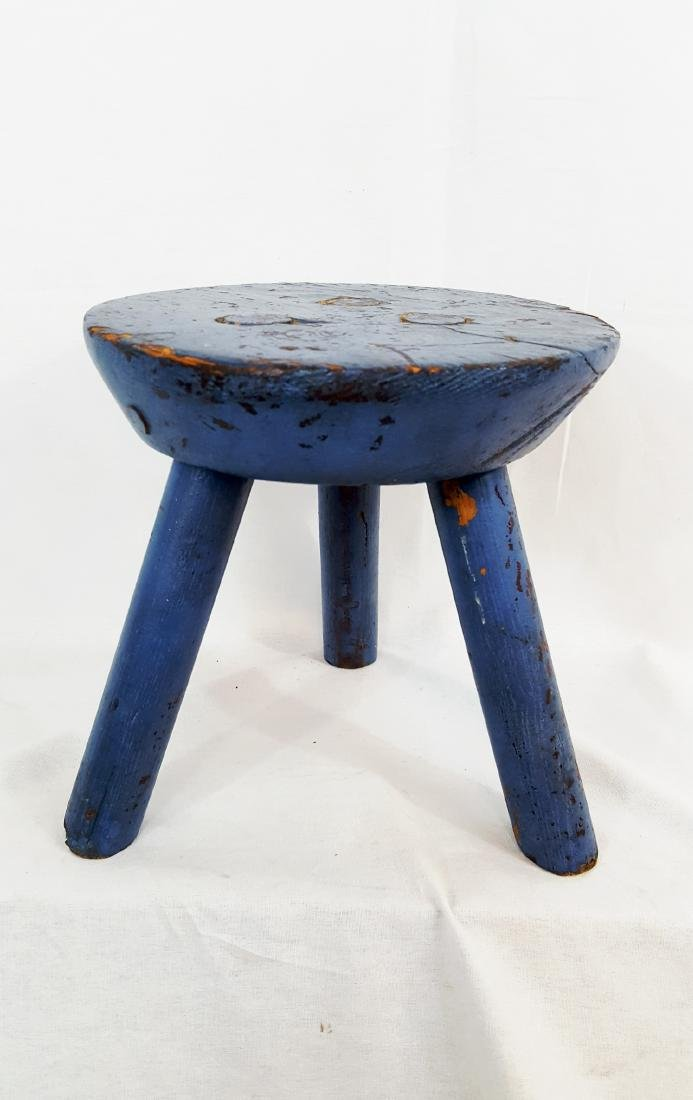 Blue Painted Pa Milking Stool Circa 1900 - 2