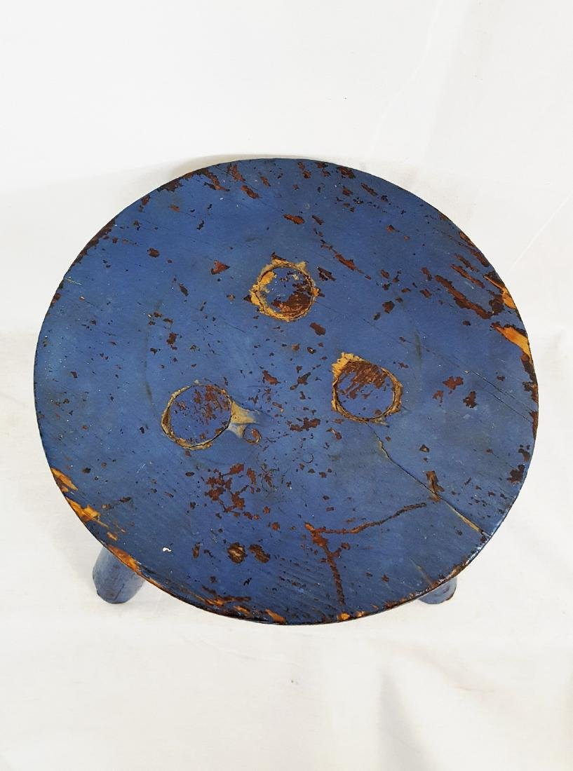 Blue Painted Pa Milking Stool Circa 1900 - 3