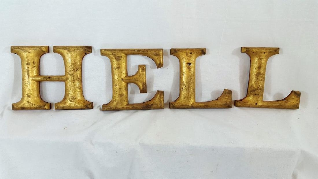 4 Gilt Sign Letters Circa 1930's