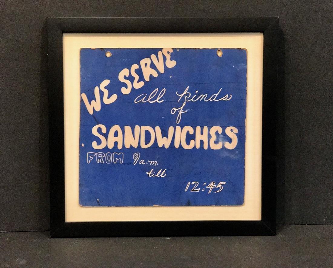 We Serve Sandwiches Sign, Circa 1940