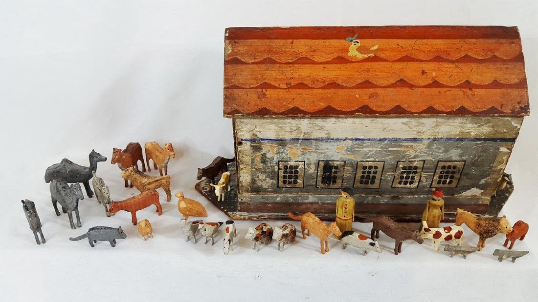 German Noah's Ark Toy With 36 Animals Circa 1880