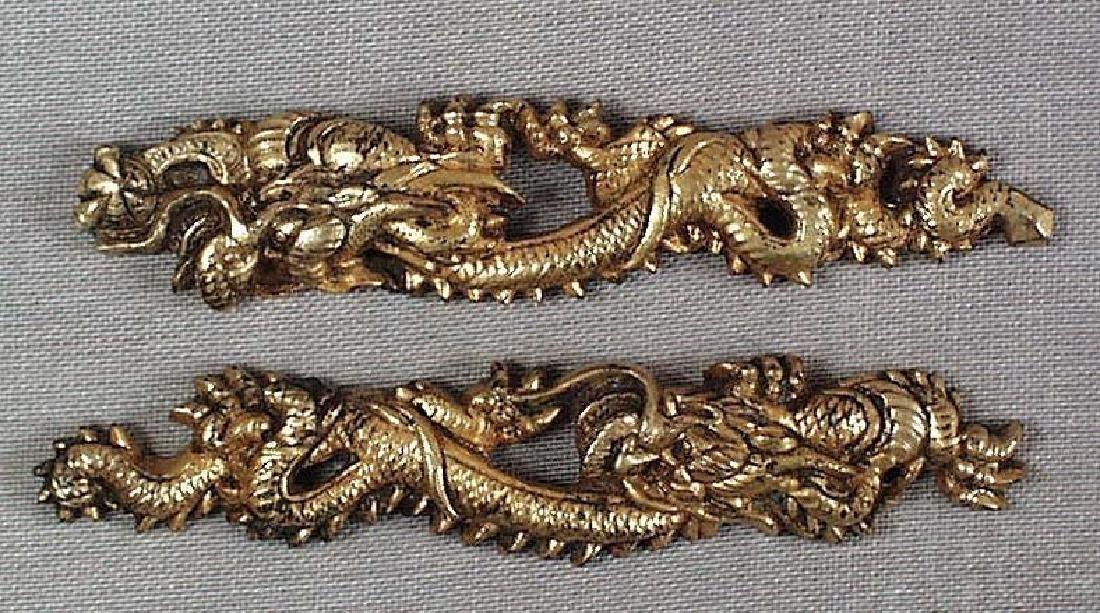 Pair of Antique Japanese Dragons Sword Menuki, 19th C