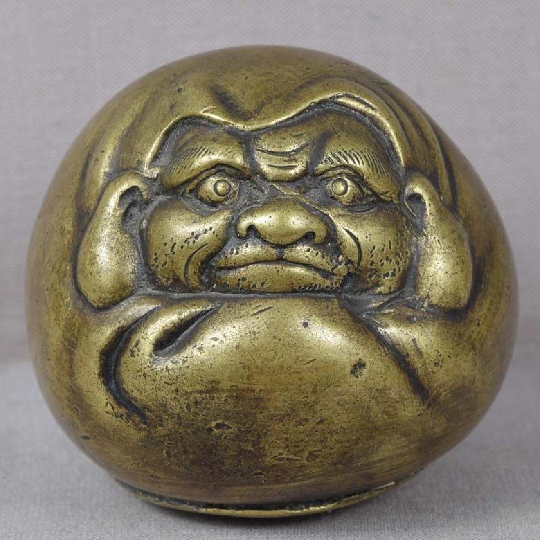 Antique Japanese Bronze Scholar's Daruma Scroll Weight