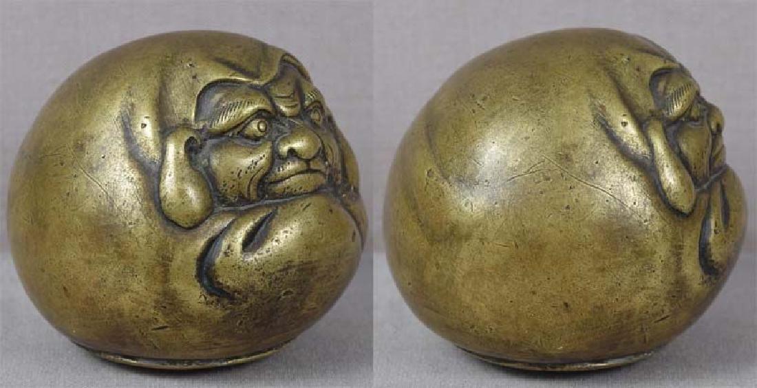 Antique Japanese Bronze Scholar's Daruma Scroll Weight - 2