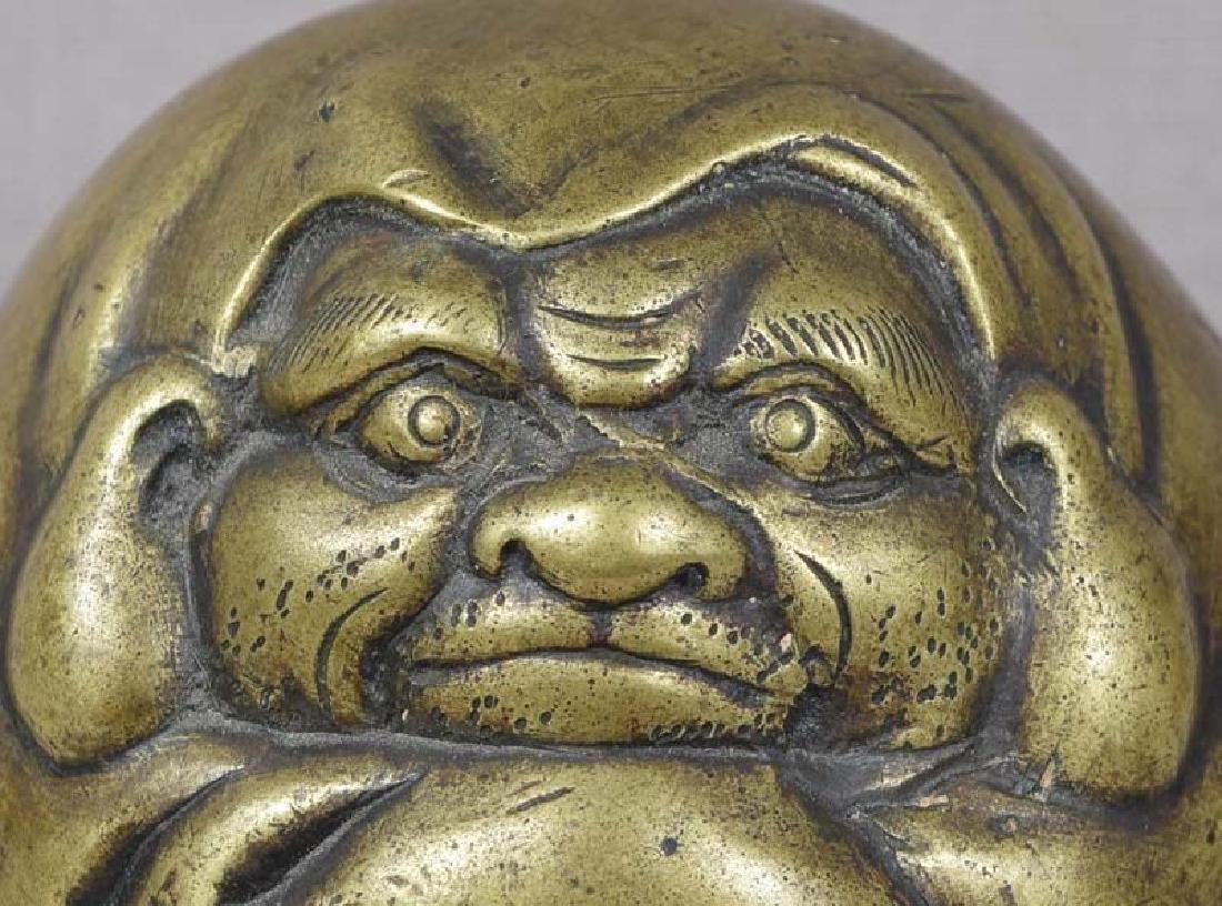 Antique Japanese Bronze Scholar's Daruma Scroll Weight - 4