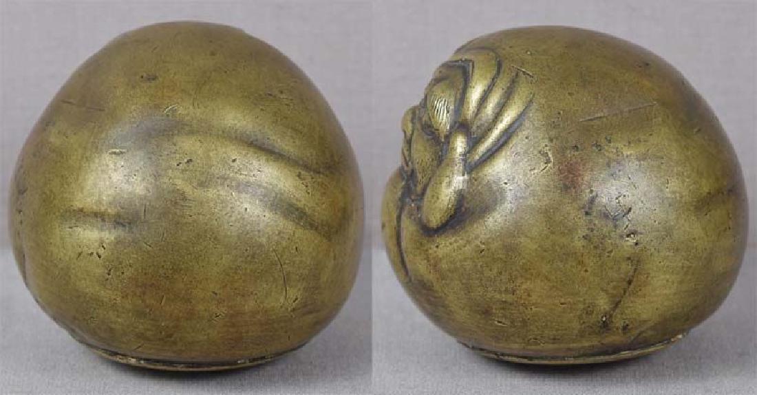 Antique Japanese Bronze Scholar's Daruma Scroll Weight - 5