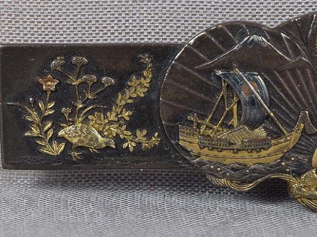Antique Japanese Mixed Metal Brooch; Fans Birds Ship - 2