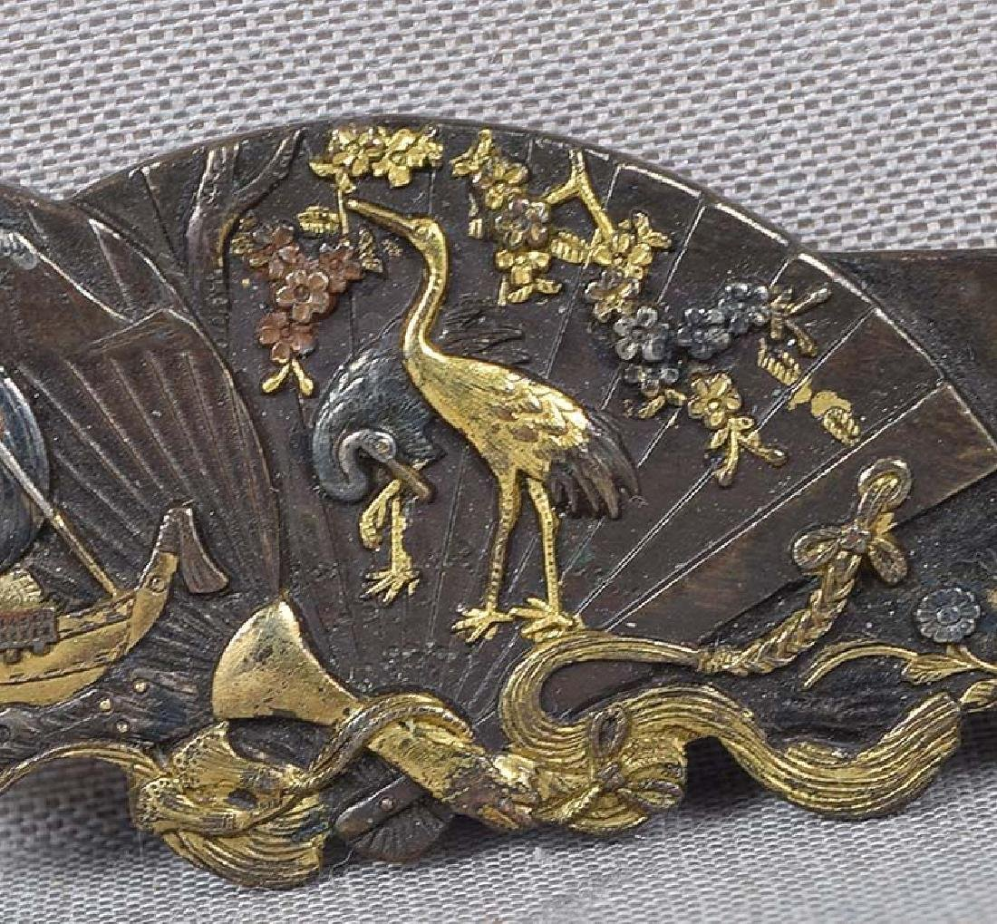 Antique Japanese Mixed Metal Brooch; Fans Birds Ship - 3
