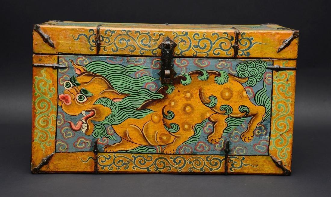 Vintage Tibetan Foo Dog Chest, 20th C
