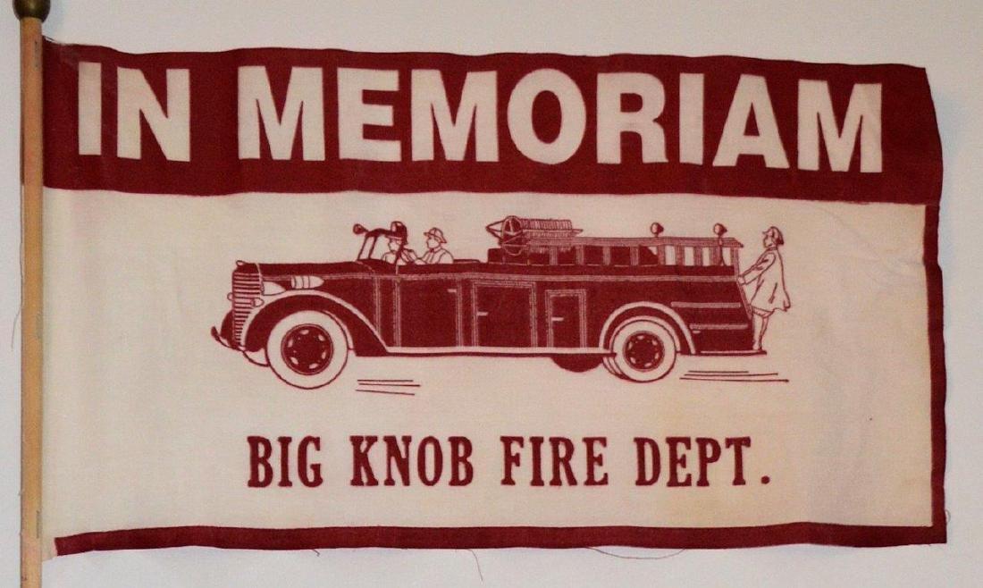 1950 Vintage Fireman Memorial Parade Flag Fire Dept