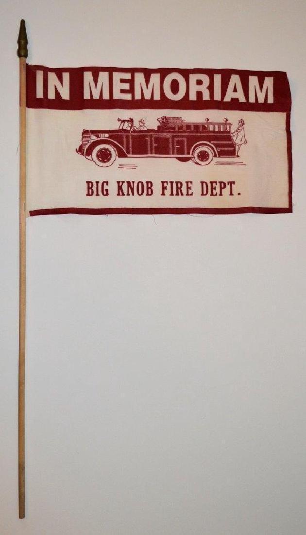 1950 Vintage Fireman Memorial Parade Flag Fire Dept - 2