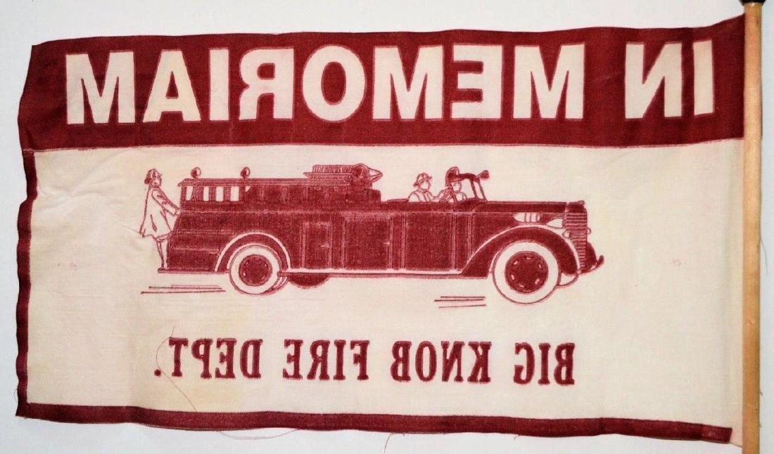 1950 Vintage Fireman Memorial Parade Flag Fire Dept - 3