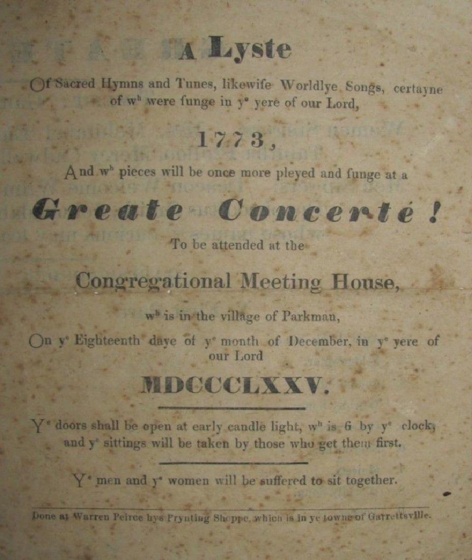 1875 Centennial Concert Program In The Style Of A 1773
