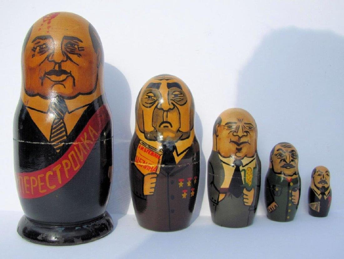 1991 Russian Leaders Painted Nesting Doll, Gorbachev