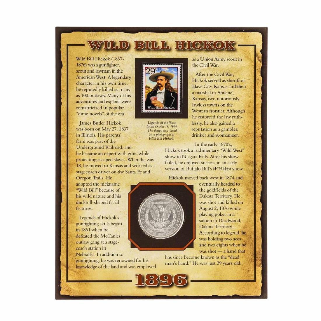 1896 $1 Morgan Silver Dollar Coin with Wild Bill Hickok - 2