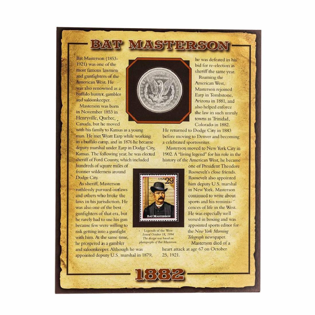 1882 $1 Morgan Silver Dollar Coin with Bat Masterson - 2