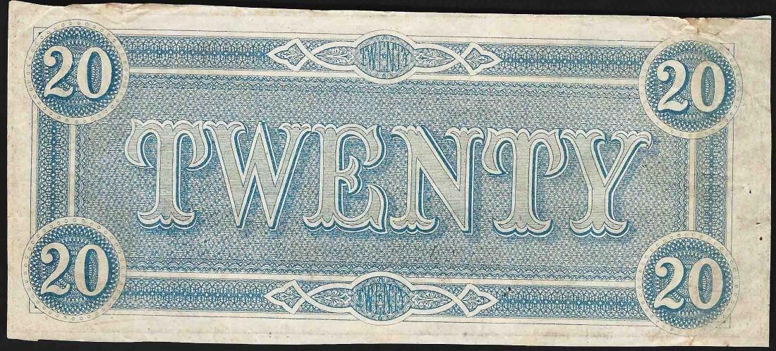 1864 $20 Confederate States of America Note - 2