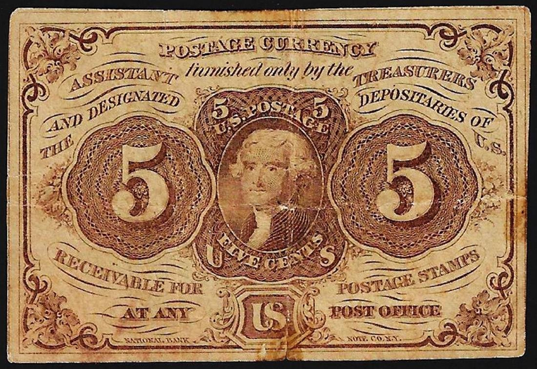 1862 Five Cent First Issue Fractional Note