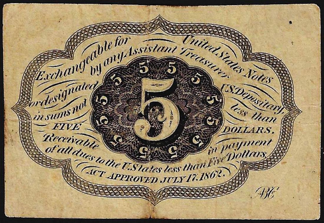 1862 Five Cent First Issue Fractional Note - 2