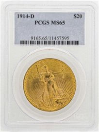 1914-D $20 St. Gaudens Double Eagle Gold Coin PCGS MS65