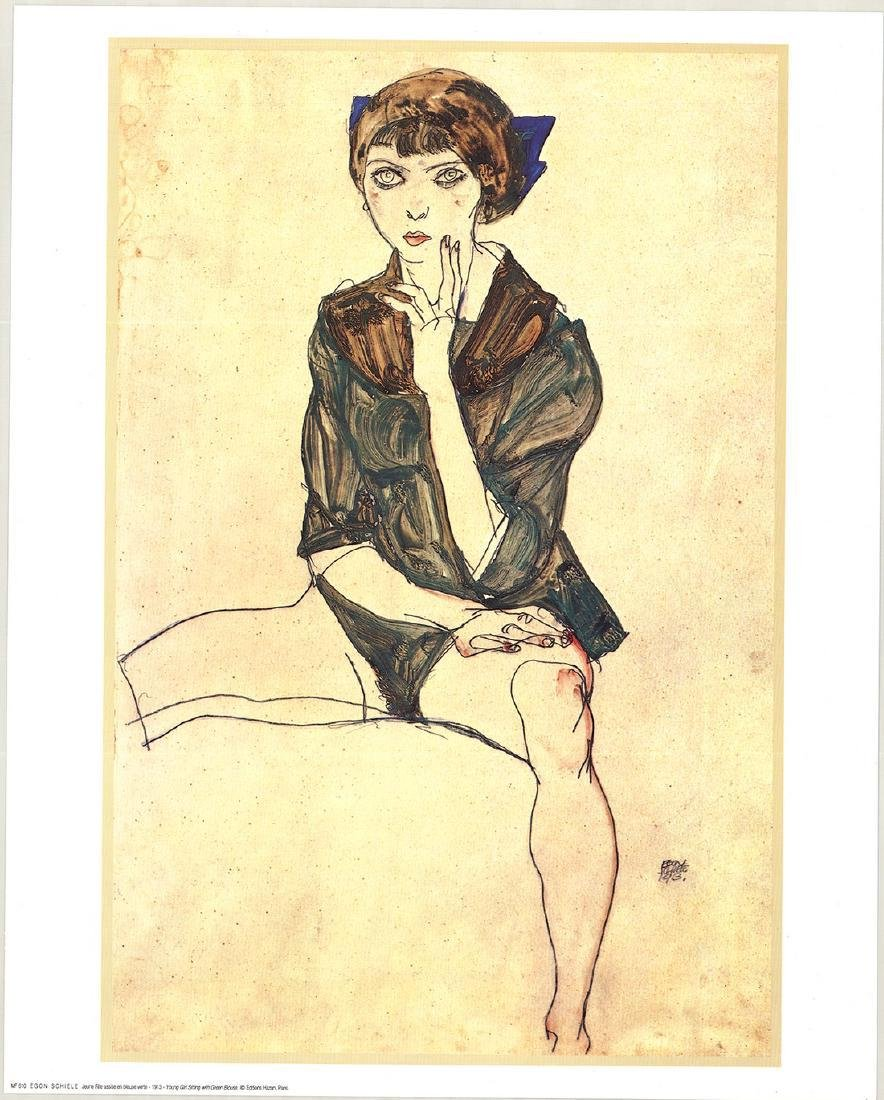Egon Schiele Young Girl Sitting Green Blouse Lithograph