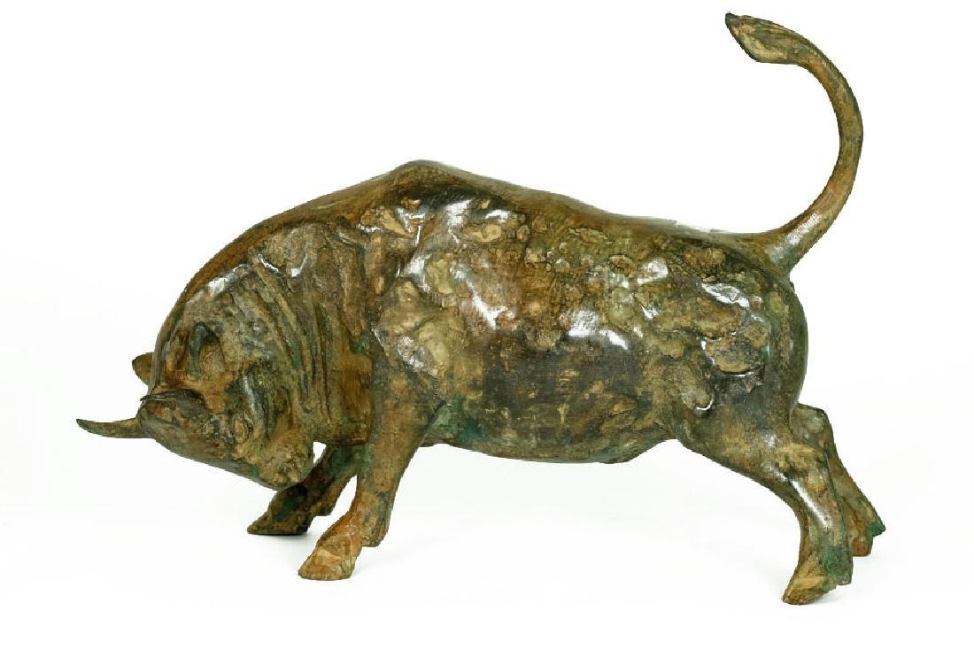 Pierre Chenet, Bronze Sculpture of Charging Bull