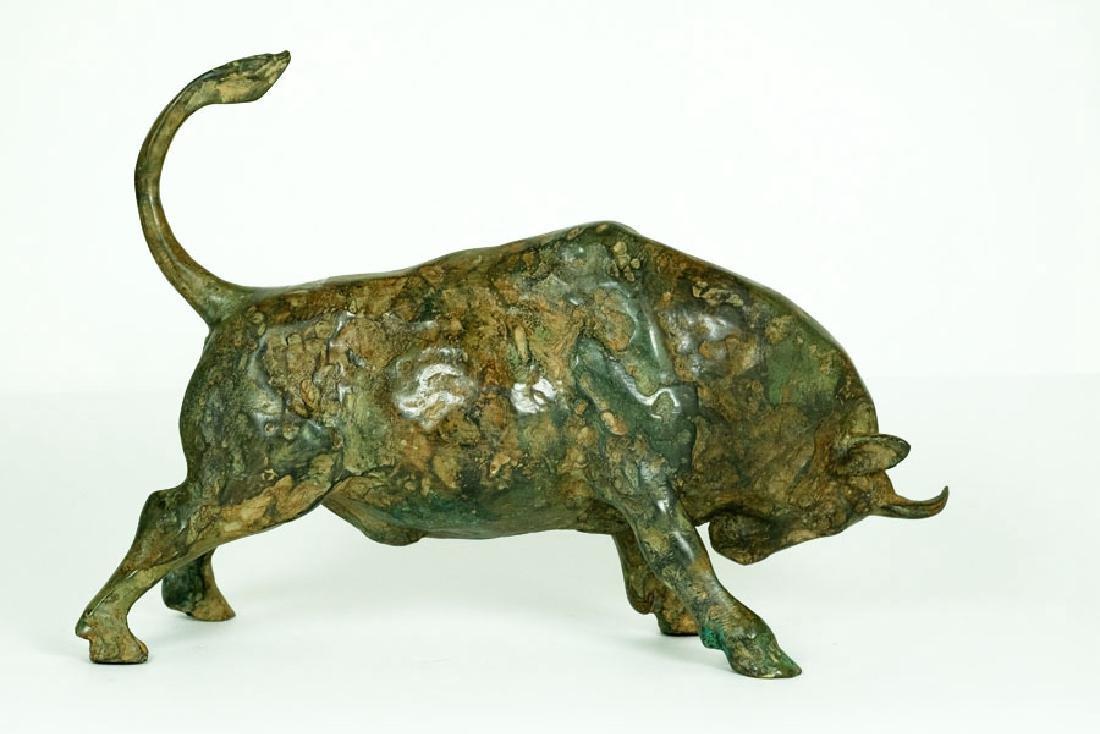 Pierre Chenet, Bronze Sculpture of Charging Bull - 5