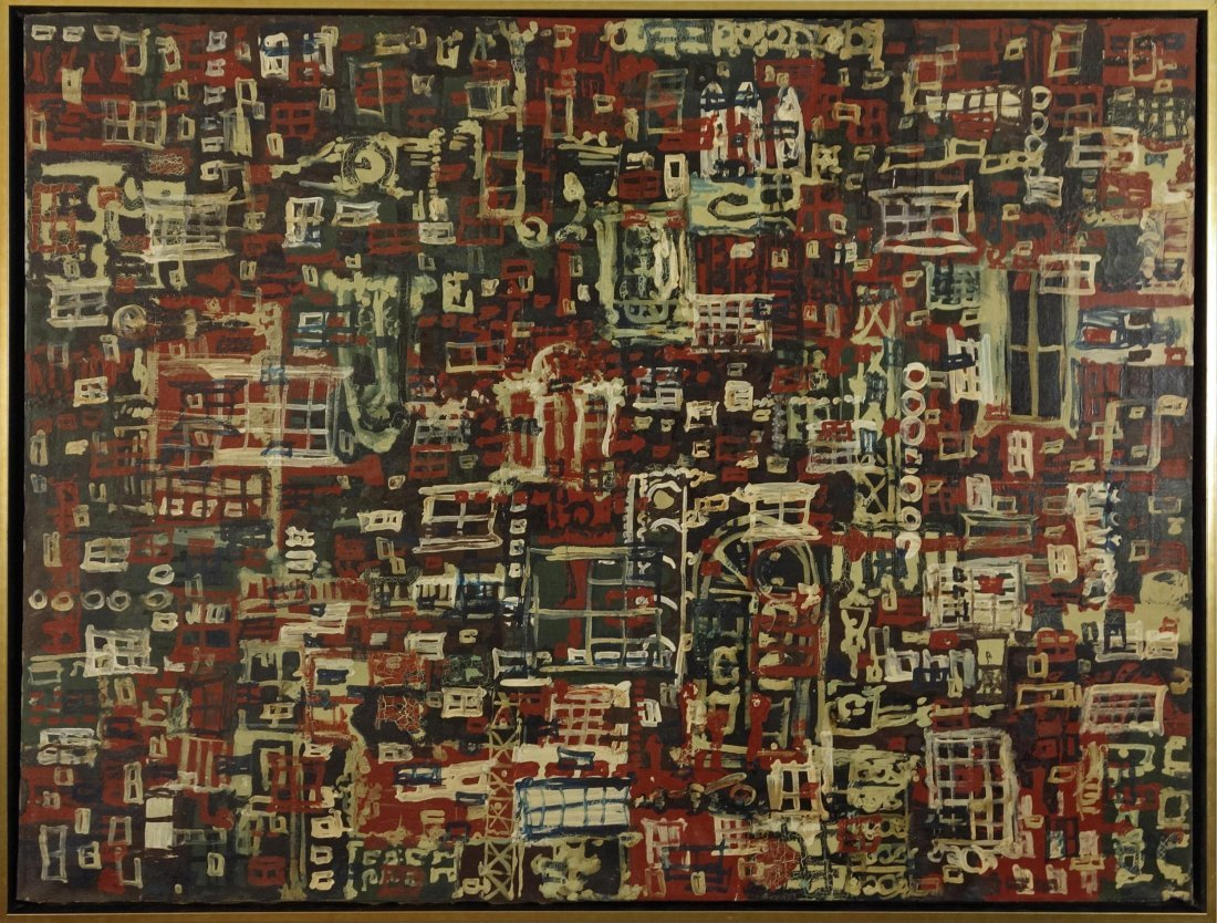 American Abstract Expressionist Oil on Canvas Painting