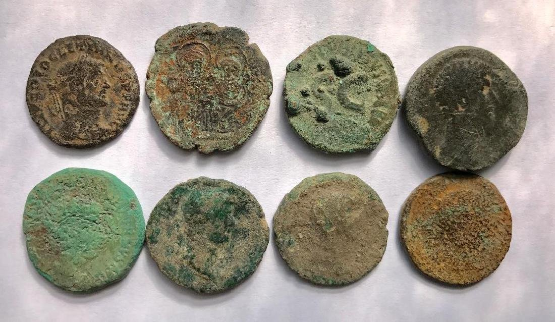 Lot OF 8 Large Ancient Roman Coins for Cleaning