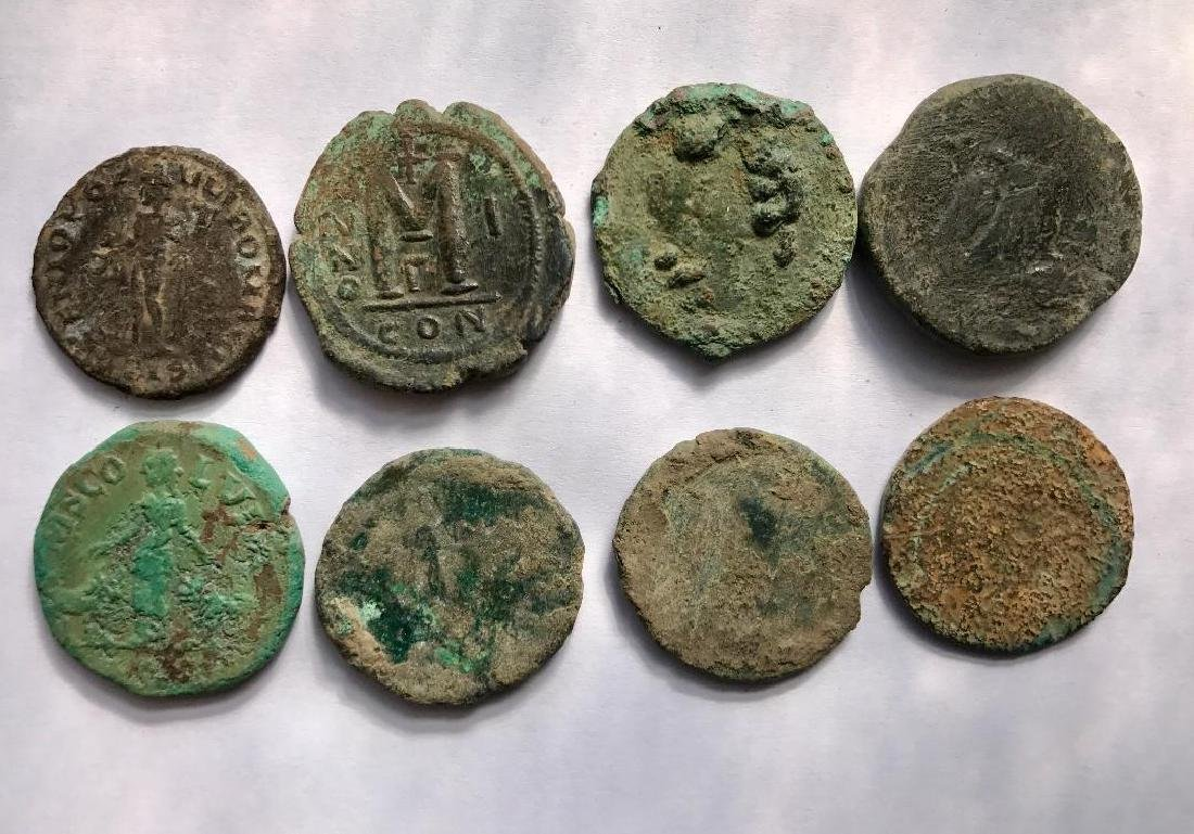Lot OF 8 Large Ancient Roman Coins for Cleaning - 2