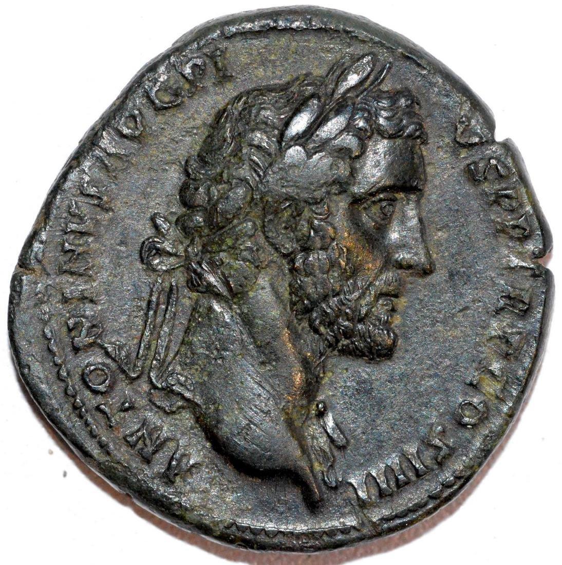 Rare Ancient Roman Sestertius of Emperor Antoninus Pius