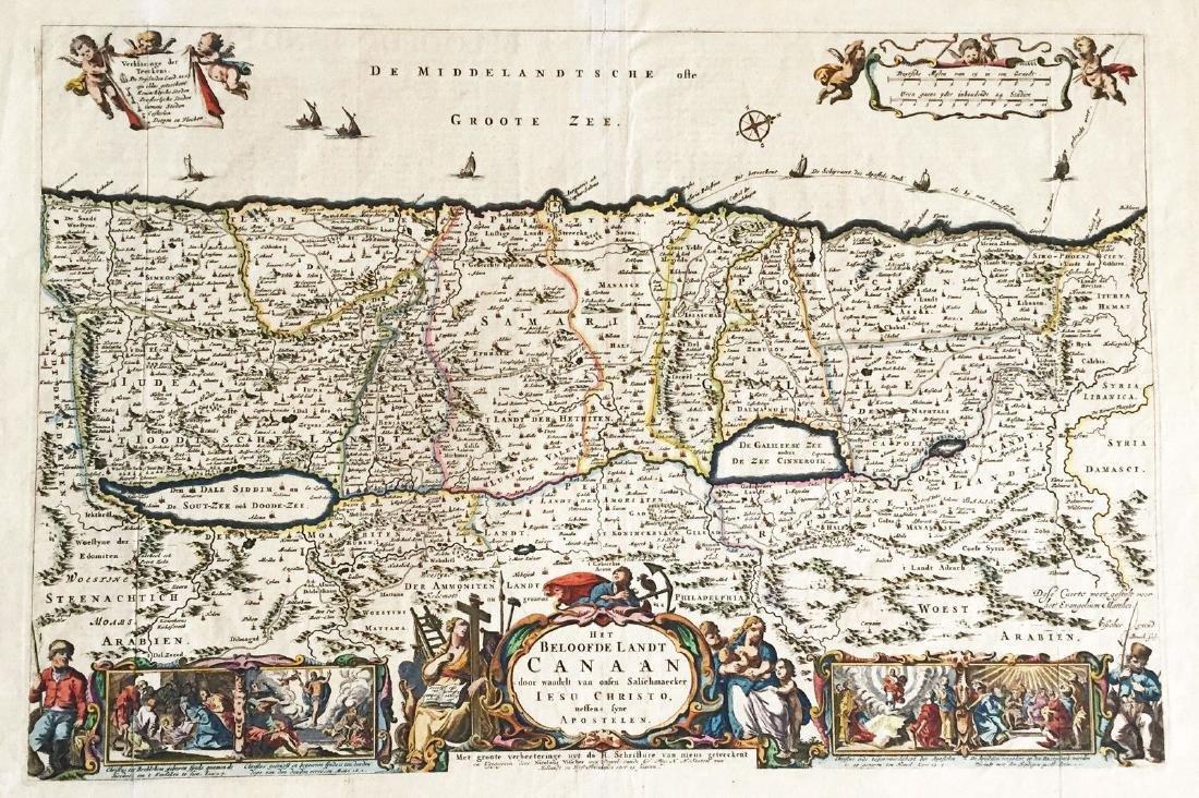 Visscher: Antique Map of Beloved Land of Canaan, 1650