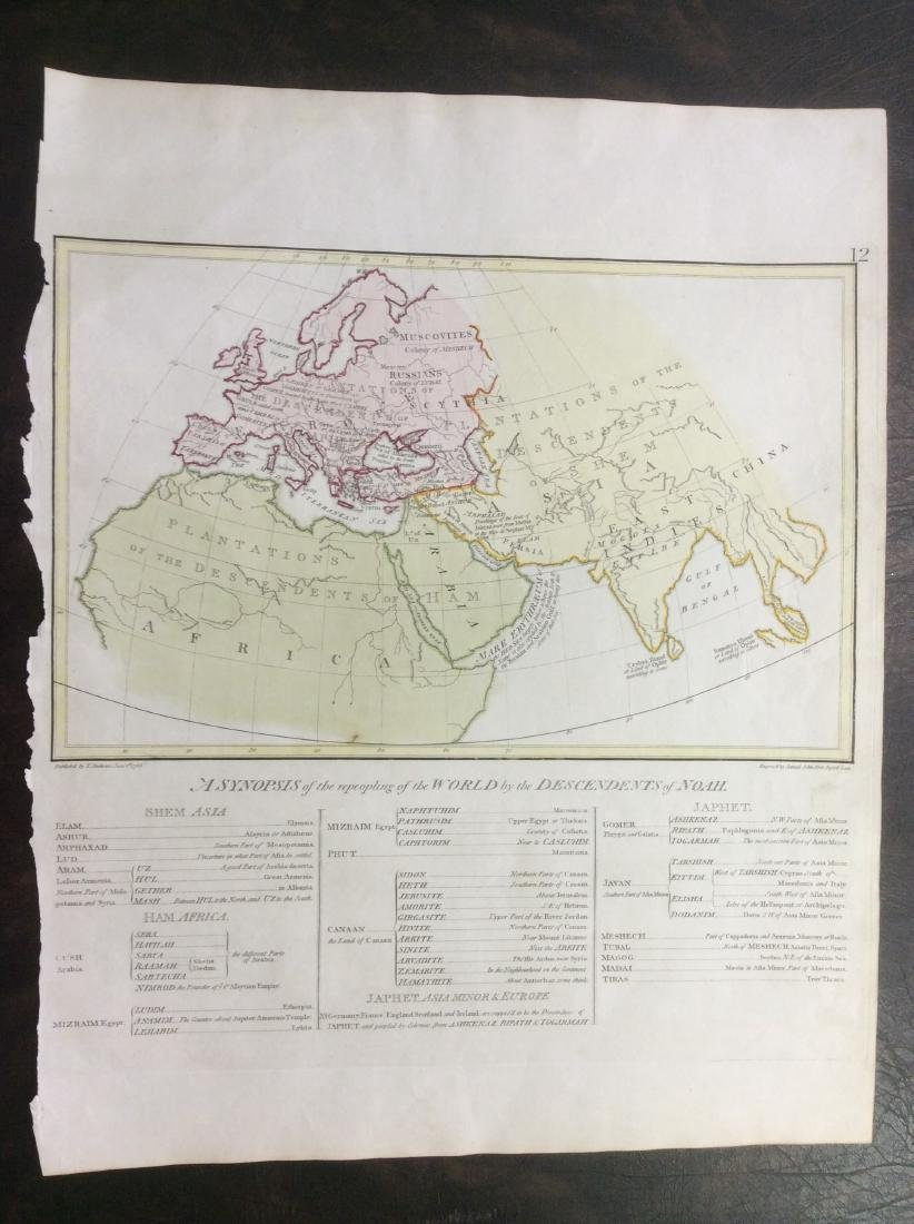 Stackhouse: Antique Map of Noah's Descendants, 1783