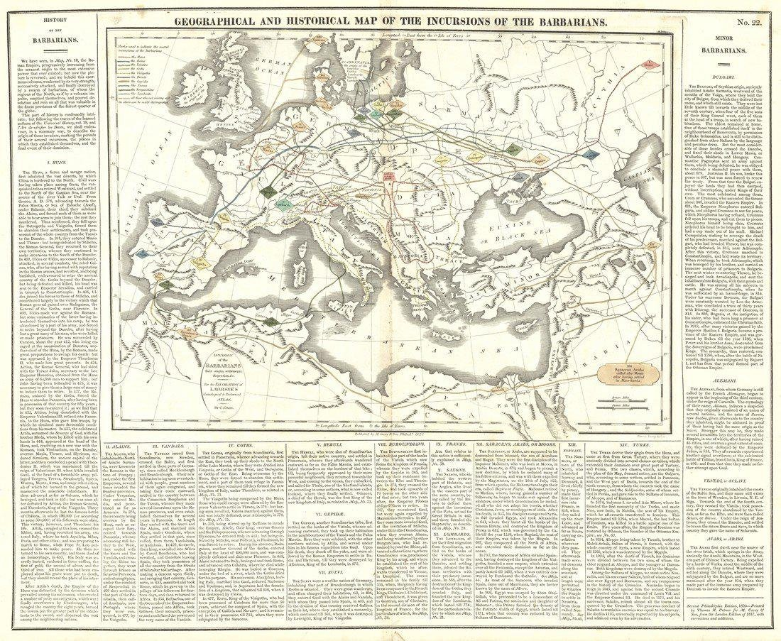Antique Map of the Incursions of the Barbarians, 1820