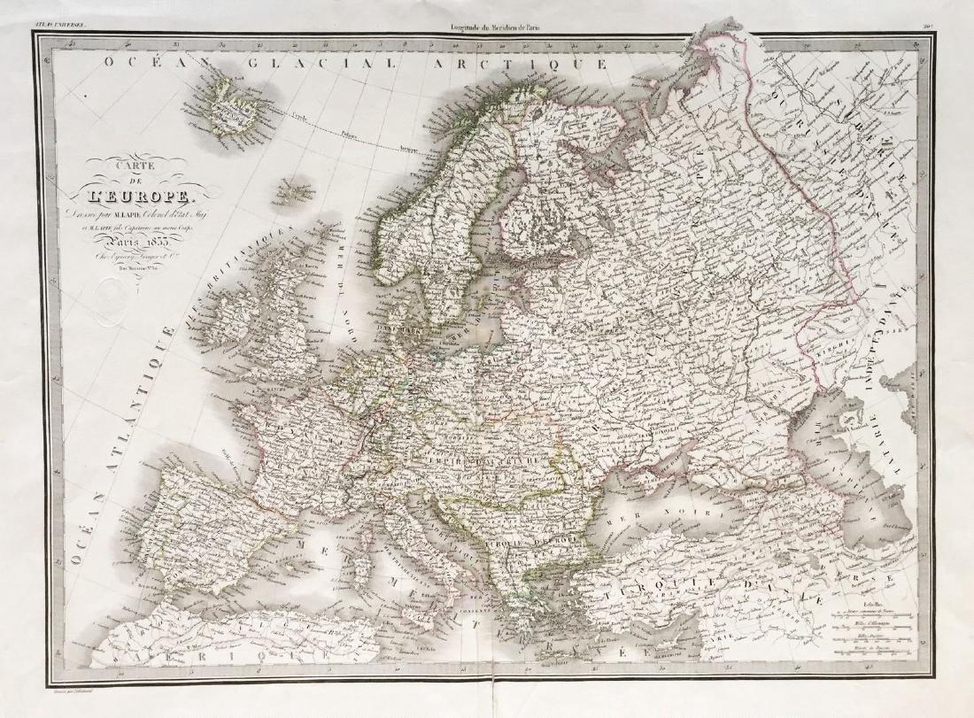 Lapie: Antique Map of Europe, 1833
