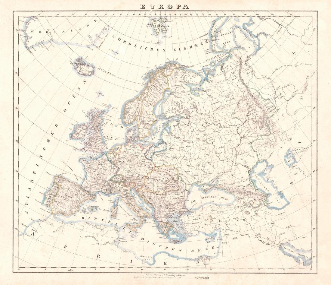 Flemming: Antique Map of Europe, 1847