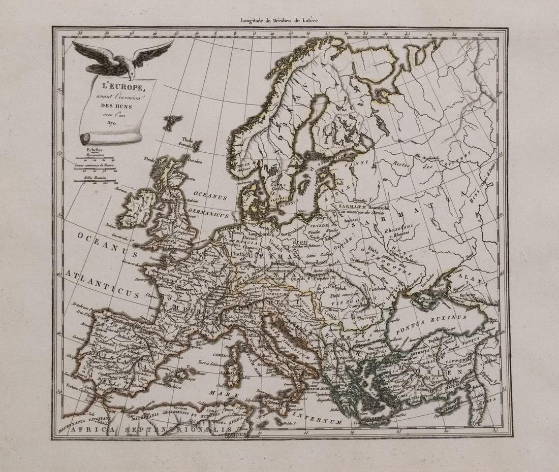 Malte-Brun: Map of Europe during Hun invasion in 370